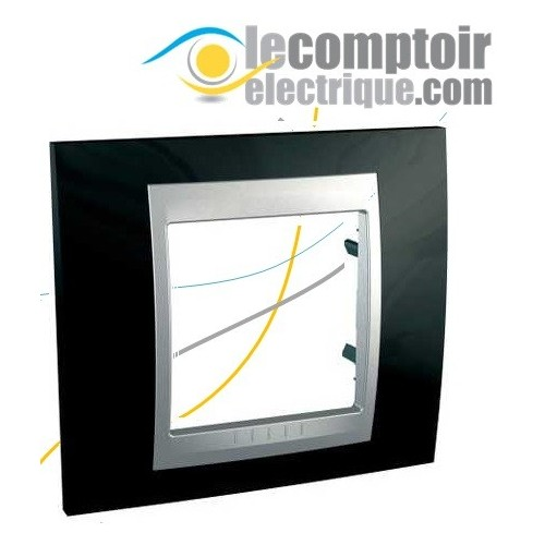 Plaque de finition Unica Top Noir Rhodium lisere Alu 2 modules - SCHNEIDER MGU66.002.093