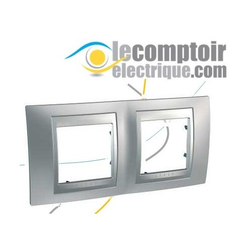 Plaque de finition Unica Top Chrome Satine lisere Alu 4 modules 71mm - SCHNEIDER MGU66.004.038
