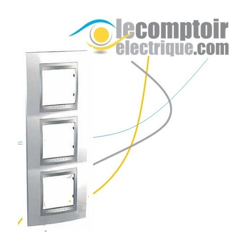 Plaque de finition Unica Top Blanc Techno lisere Alu 6 modules verticaux 71mm - SCHNEIDER MGU66.006V.092