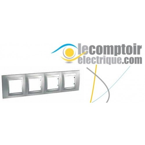 Plaque de finition Unica Top Chrome Satine lisere Alu 8 modules - SCHNEIDER MGU66.008.038