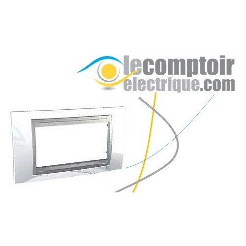 Plaque de finition Unica Top Blanc Techno lisere Alu 4 modules 45mm - SCHNEIDER MGU66.104.092