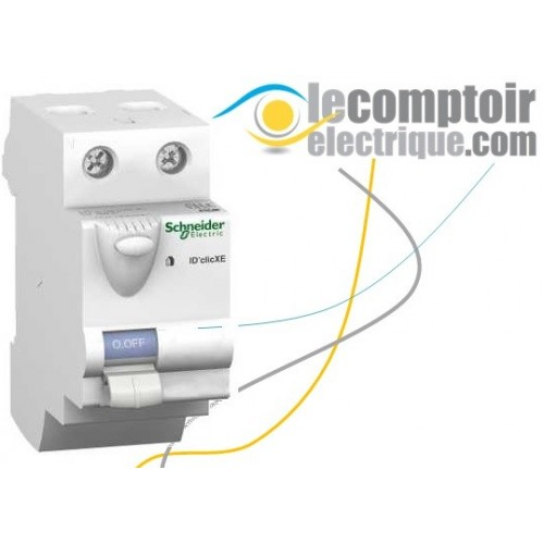 Interrupteur differentiel bipolaire 30mA 63A type AC embrochable iD'Clic XE - SCHNEIDER 16162