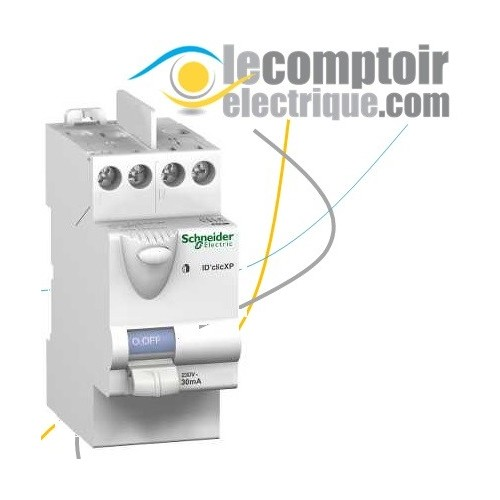 Interrupteur differentiel bipolaire 30mA 40A type AC peignable iD'Clic XP - SCHNEIDER 23160