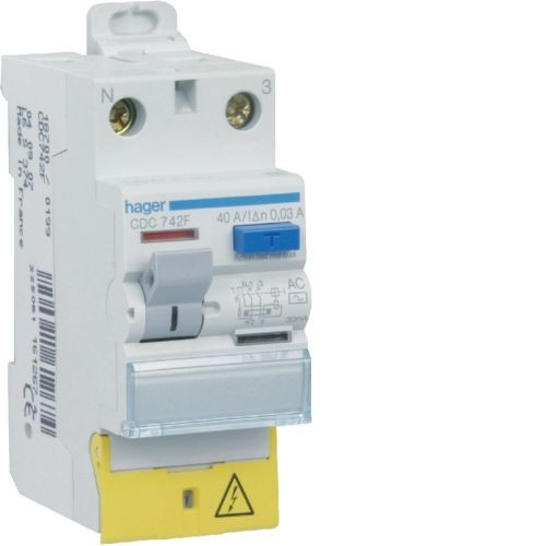 Interrupteur differentiel 2P 40A 30mA type AC connexion vis/vis a borne decale - HAGER CDC742F
