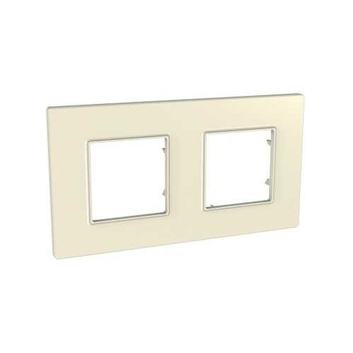 Plaque de finition Pierre 2 postes Unica Quadro - SCHNEIDER MGU2.704.16 Couleurs Standard