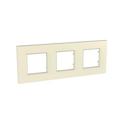 Plaque de finition Pierre 3 postes Unica Quadro - SCHNEIDER MGU2.706.16 Couleurs Standard