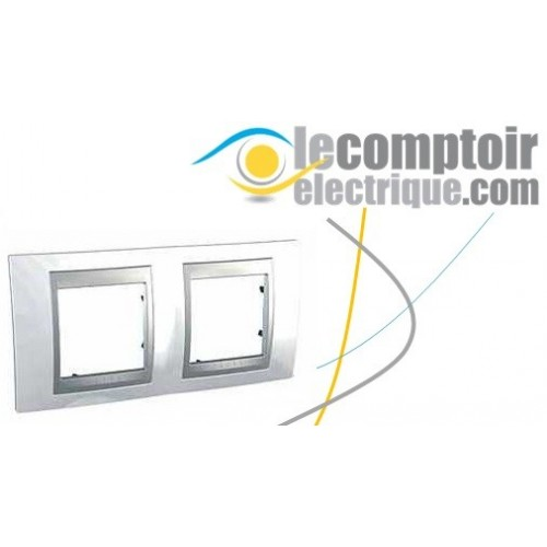 Plaque de finition Unica Top Blanc Techno lisere Alu 4 modules 71mm - SCHNEIDER MGU66.004.092