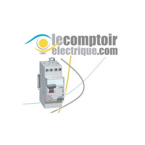 Interrupteur differentiel DX3-ID 2P 40A type A 30mA raccordement vis/vis - LEGRAND 411617