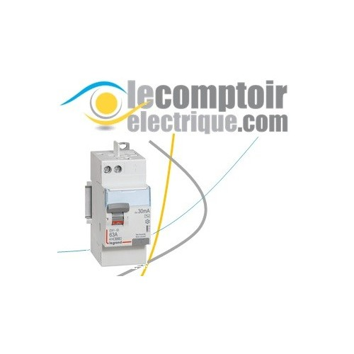Interrupteur differentiel DX3-ID 2P 63A type AC 30mA raccordement vis/auto - LEGRAND 411650
