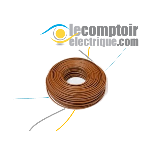 Fils rigide H07V-R 6mm2 Marron - Couronne de 100m