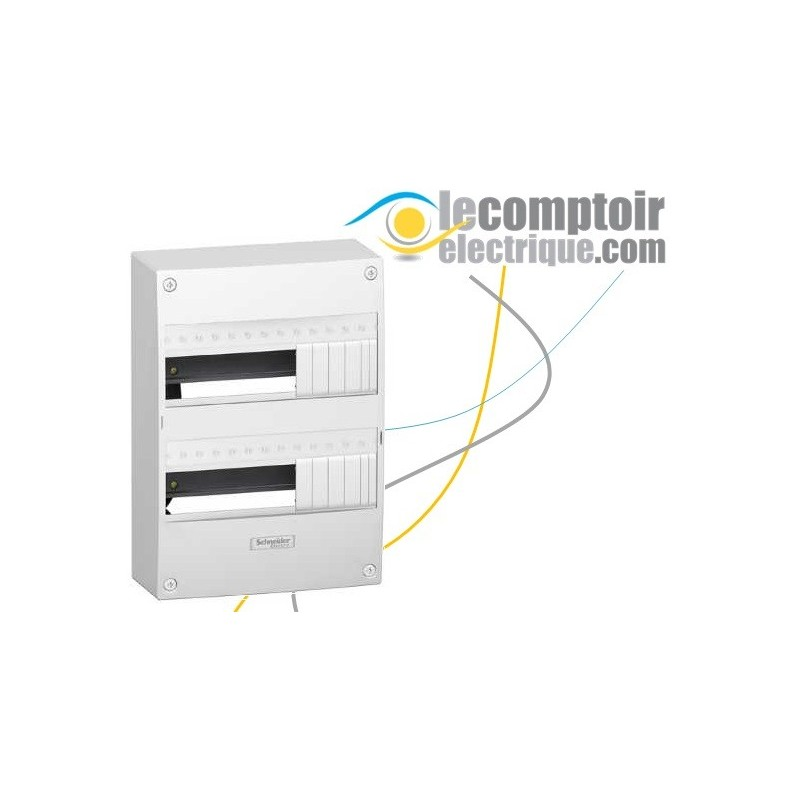 Coffret electrique Opale 2 rangees 13 modules en saillie IP30 sans porte - SCHNEIDER 13402- Remplacé par la réf R9H13402 Coff...