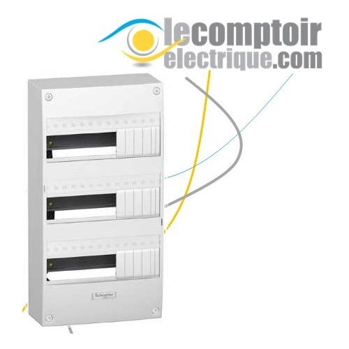 Coffret electrique Opale 3 rangees 13 modules en saillie IP30 sans porte - SCHNEIDER 13403- Remplacé par la réf R9H13403
