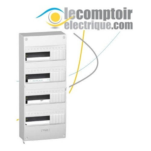 Coffret electrique Opale 4 rangees 13 modules en saillie IP30 sans porte - SCHNEIDER 13404
